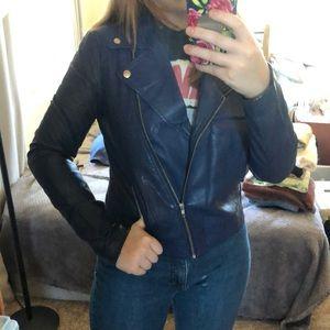 F21 Blue Leather Jacket